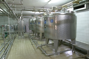 Milk storage tanks in dairy production